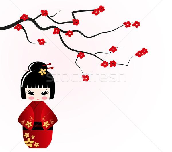Lalek sakura oddziału piękna czerwony roślin Zdjęcia stock © PiXXart