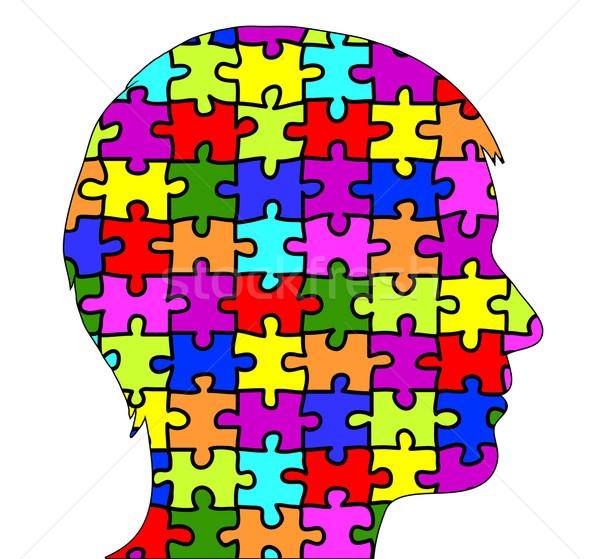 Mężczyzna sylwetka puzzle medycznych projektu zdrowia Zdjęcia stock © PiXXart