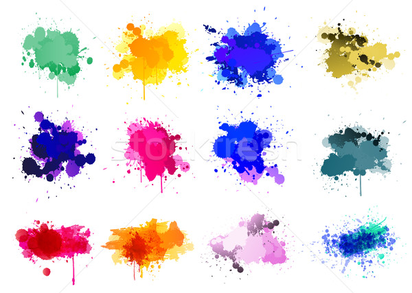 Colorful paint splatters Stock photo © PiXXart