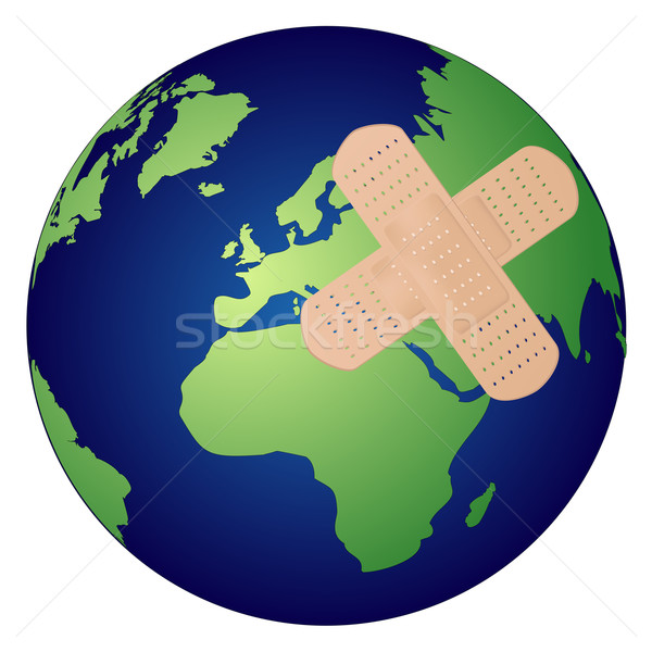 Dünya iş harita tıbbi sağlık güvenlik Stok fotoğraf © PiXXart