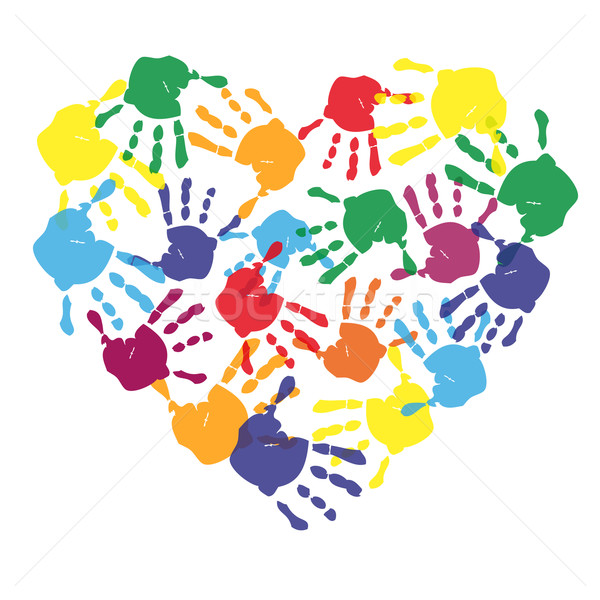 Colorful child hand prints in heart shape Stock photo © PiXXart