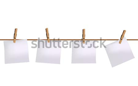 Four paper notes hanging on rope Stock photo © PiXXart