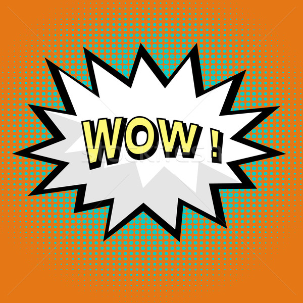 Wow Comic Sprechblase Pop-Art Stil Buch Stock foto © PiXXart