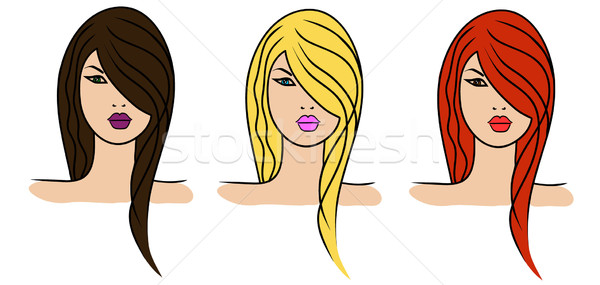 3 girls with different hair colour Stock photo © PiXXart