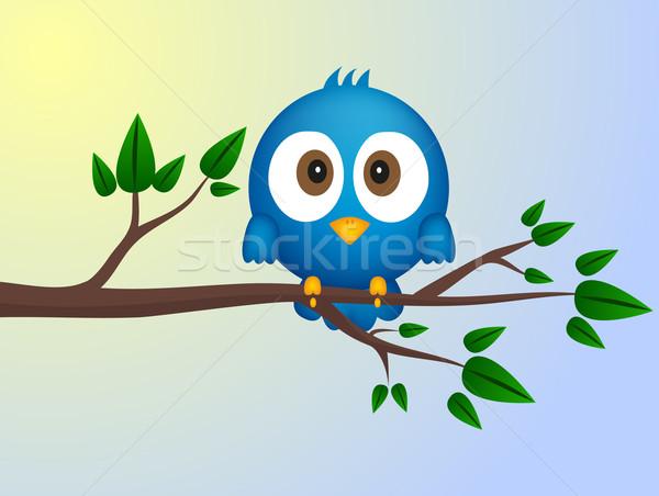 Blu uccello seduta ramoscello sole design Foto d'archivio © PiXXart