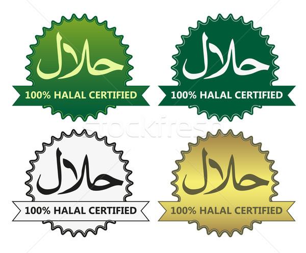 4 halal product labels Stock photo © PiXXart