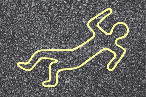 Krijt schets lijk lichaam straat silhouet Stockfoto © PiXXart