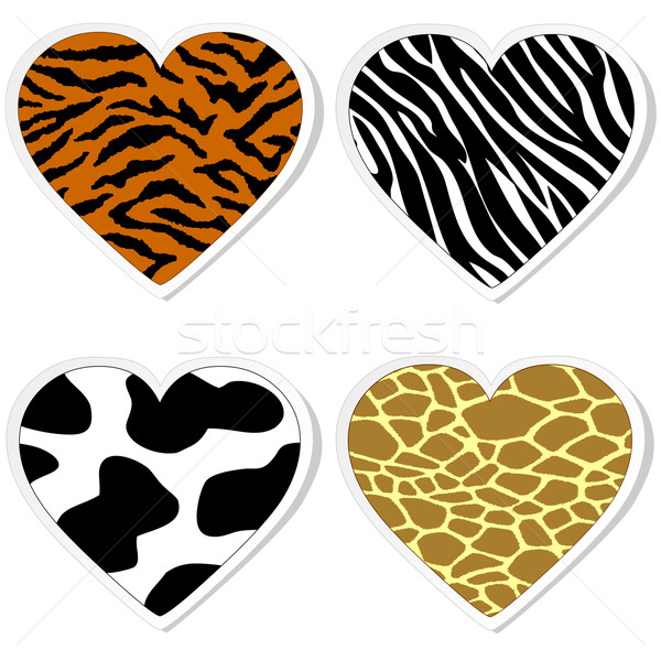 Animal print heart stickers Stock photo © PiXXart