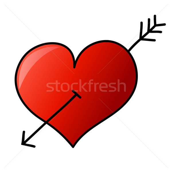 Hand drawn heart with arrow Stock photo © PiXXart