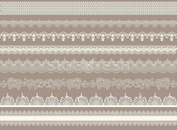 Beautiful lace ribbons set Stock photo © PiXXart