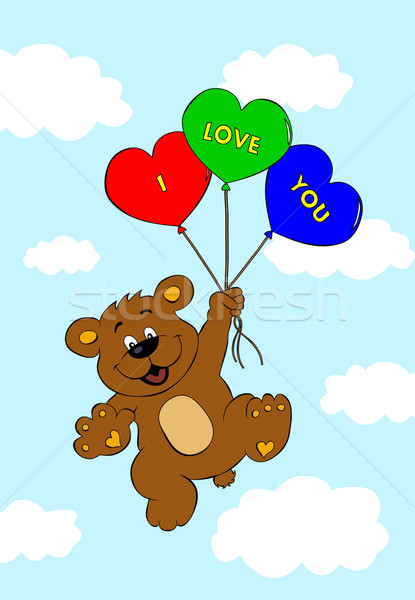 Ponosi balony pływające powietrza miłości Chmura Zdjęcia stock © PiXXart