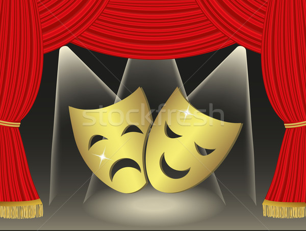 Theatrical masks on red cutains background Stock photo © PiXXart