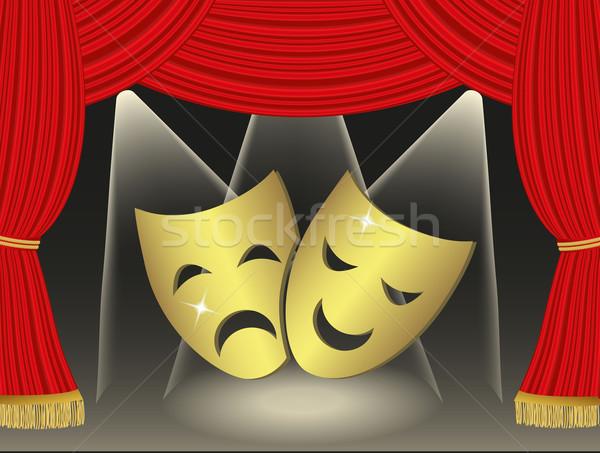 Teatrale maschere rosso tende film luce Foto d'archivio © PiXXart
