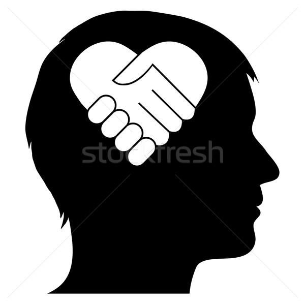 Male silhouette with heart handshake Stock photo © PiXXart