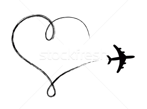 Heart shaped icon in air, made by plane Stock photo © PiXXart