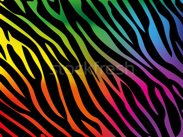 Rainbow zèbre fond bleu rouge Afrique Photo stock © PiXXart