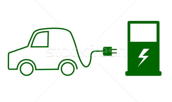 Coche eléctrico coche naturaleza industria cable energía Foto stock © PiXXart