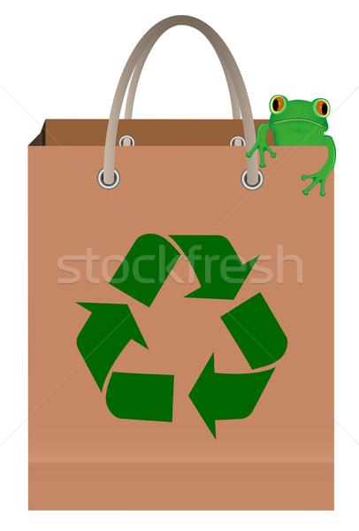 Stock fotó: Zöld · fa · béka · ül · papírzacskó · újrahasznosít · szimbólum