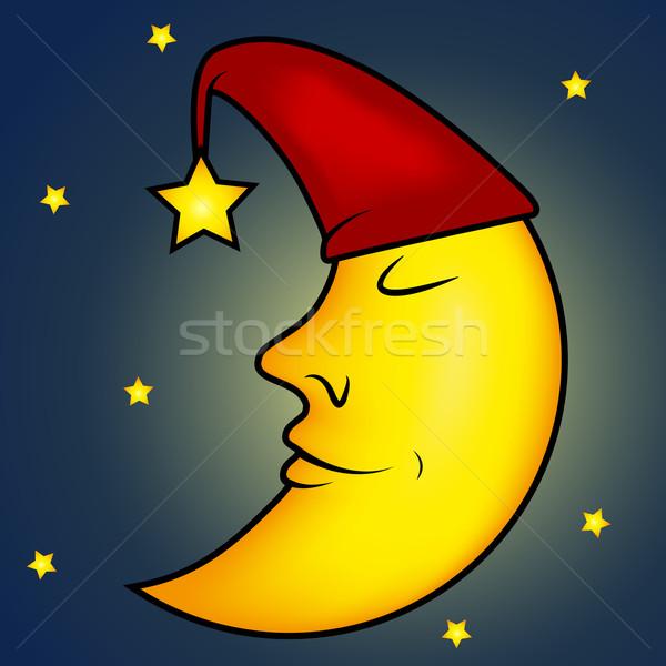 Snem księżyc ilustracja niebo dziecko świetle Zdjęcia stock © PiXXart