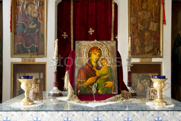 Kapel schilderij maagd baby jesus liefde Stockfoto © PiXXart
