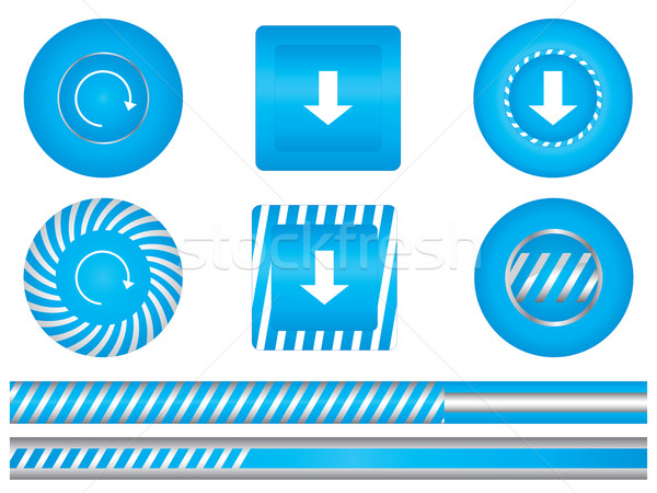Set of special blue download buttons Stock photo © place4design