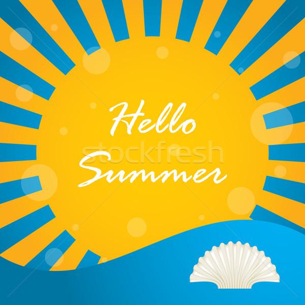 Nyár különleges terv hello tengerpart absztrakt Stock fotó © place4design