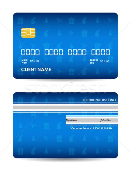Realistico vettore carta di credito Natale design sicurezza Foto d'archivio © place4design