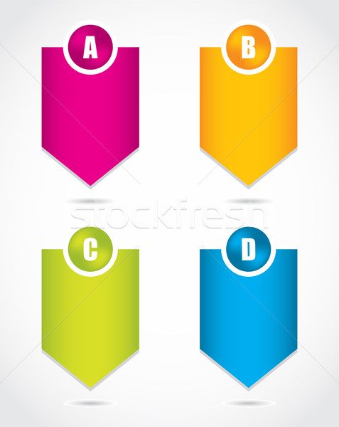 Papír haladás címkék termék választás különleges Stock fotó © place4design