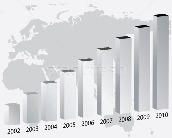 3D gráfico de barras mapa signo empresa comercialización Foto stock © place4design