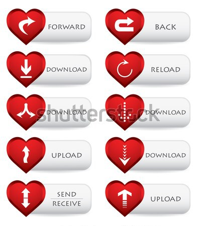 Set of four banners with red hearts, Valentine's Day design Stock photo © place4design