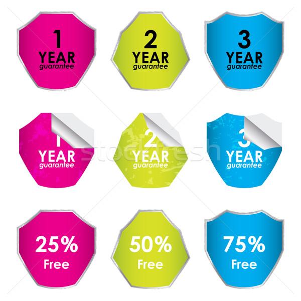 Színes modern garancia promóciós címkék felirat Stock fotó © place4design