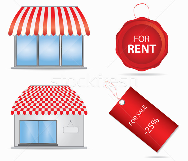 Cute shop icon with red awnings. Vector illustration. Stock photo © place4design
