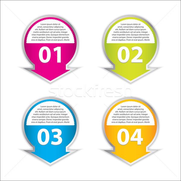 Stock fotó: Szett · négy · vektor · címkék · különböző · lehetőségek