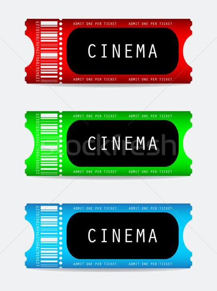 фильма билета фильма знак зеленый синий Сток-фото © place4design