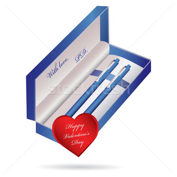 blue ballpoint pen in a blue case Stock photo © place4design