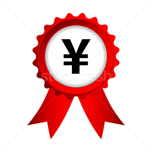 red label with ribbons and yen sign Stock photo © place4design