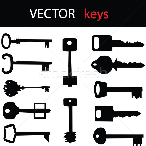 набор вектора ключами домой безопасности черный Сток-фото © place4design