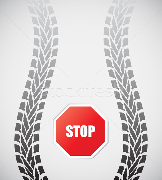 special tire track with stop sign Stock photo © place4design