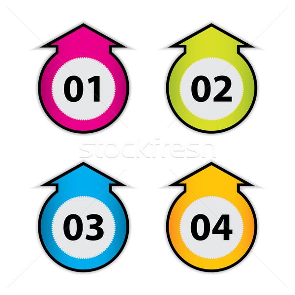 Stockfoto: Pijl · stickers · nummers · business · web · winkel