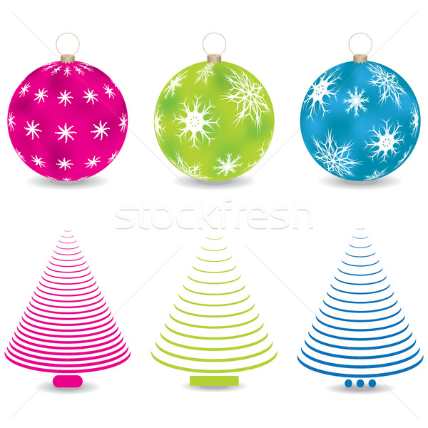 christmas balls and trees Stock photo © place4design
