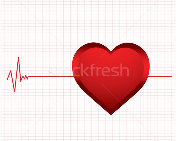 Vetor monitor batida de coração amor tecnologia fundo Foto stock © place4design