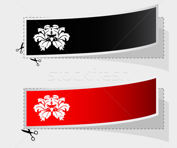 Vector label with ribbons and vintage flower design Stock photo © place4design