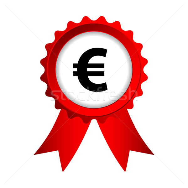 Stock photo: red label with ribbons and euro sign
