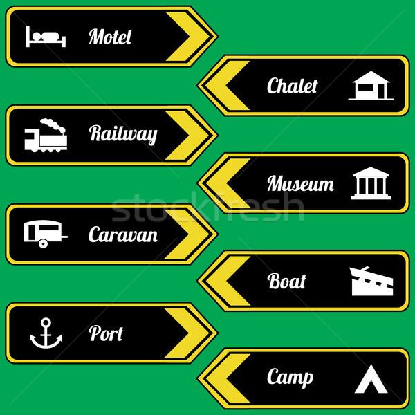 Tourist locations icon set black-yellow Stock photo © place4design