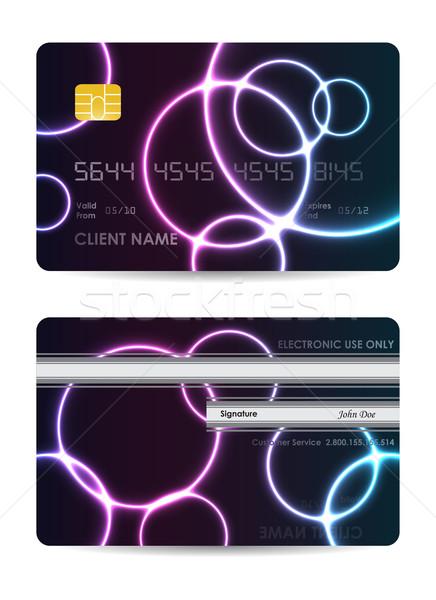 Foto stock: Realista · vetor · cartão · de · crédito · ver · de · volta · dinheiro