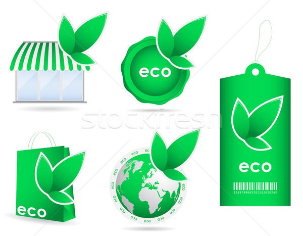 Különleges zöld környezetbarát sablon ikon gyűjtemény Stock fotó © place4design