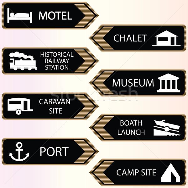 tourist locations icon set black-white - VECTOR Stock photo © place4design