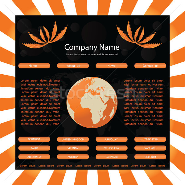 website template with globe-orange-black Stock photo © place4design