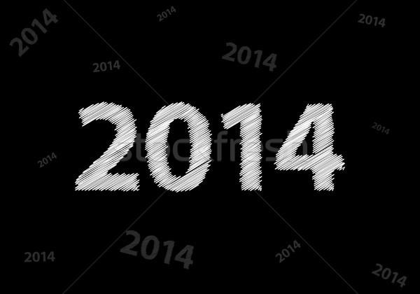 Nouvelle année 2014 spéciale croquis design heureux Photo stock © place4design
