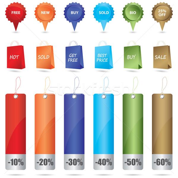 Réduction étiquettes web Ouvrir la marché tampon Photo stock © place4design